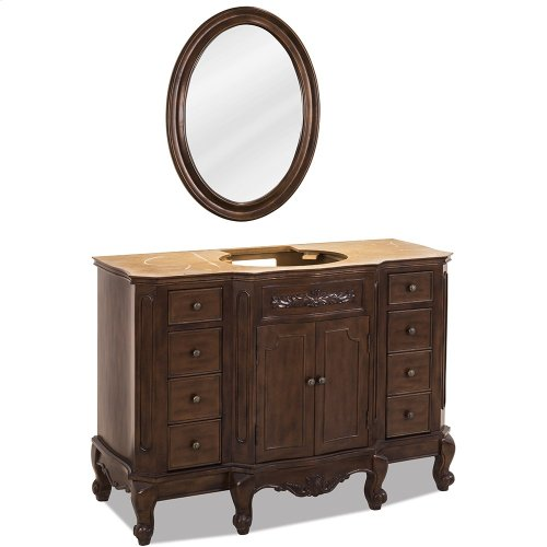 """48-1/2"""" vanity base with Nutmeg finish, carved floral onlays, and French scrolled legs."""