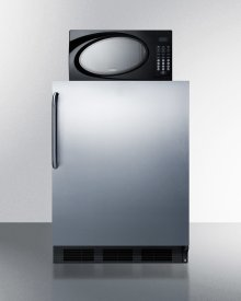 Compact Refrigerator-freezer-microwave Unit With Dual Evaporator Cooling and Stainless Steel Door