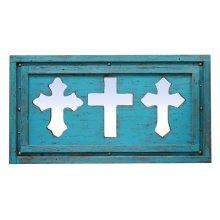 3 Turquoise Mirror Crosses