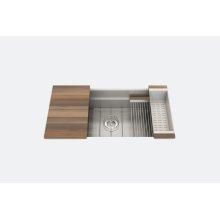 "SmartStation 005453 - undermount stainless steel Kitchen sink , 36"" × 18 1/8"" × 10"" (Walnut)"