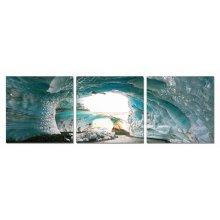 Modrest Ice Cave 3-Panel Photo On Canvas