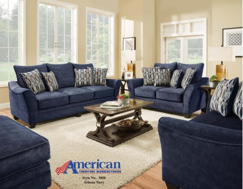 3850 - Athena Navy Loveseat