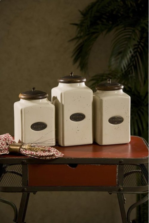 Ivory Canisters - Set of 3