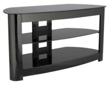 Black Audio Video Stand Black lacquered finish - fits AV components and TVs up to 56""