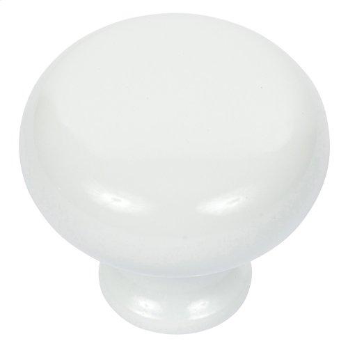 Round Knob 1 1/4 Inch - High White Gloss