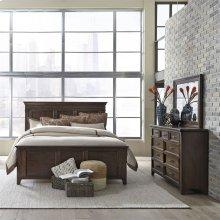 Queen Panel Bed, Dresser & Mirror
