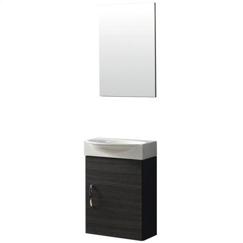 Wallmount vanity with ceramic basin and mirror