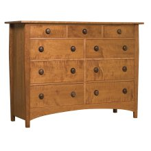 Curly Maple Drawer Fronts, Cherry Harvey Ellis High Double Dresser