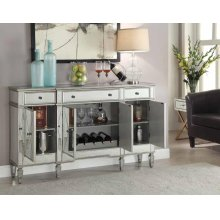 Transitional Mirror and Silver Wine Cabinet