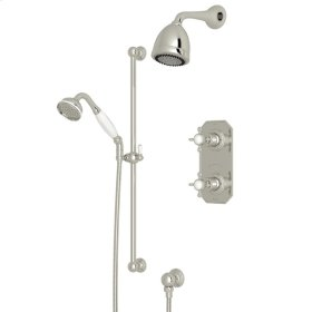 Polished Nickel Edwardian U.KIT52L Thermostatic Shower Package with Edwardian Cross Handle