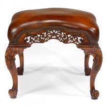Carved & Pierced Walnut Footstool