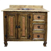 """60"""" top with double sink Copper and Marble Vanities W/ Doors, Drawers and Single and Double sinks"""