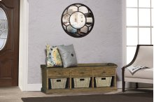 Tuscan Retreat® Bench With 3 Drawers - Old World Pine