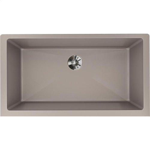 "Elkay Quartz Luxe 35-7/8"" x 19"" x 9"" Single Bowl Undermount Kitchen Sink with Perfect Drain, Silvermist"