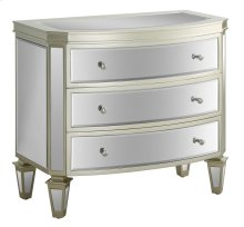 Wilshire Bent Mirror 3 Drawer Champagne Chest