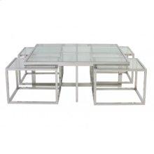 Coffee table S/5 100x100x40 cm MACARA glass nickel
