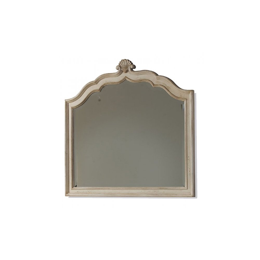 Provenance Crowned Landscape Mirror - Linen