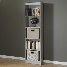 5-Shelf Narrow Bookcase - Soft Gray