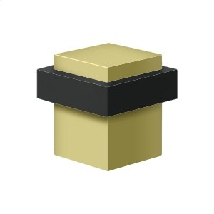 """Square Universal Floor Bumper 1-3/8"""", Solid Brass - Polished Brass"""