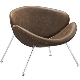 Nutshell Upholstered Vinyl Lounge Chair in Brown