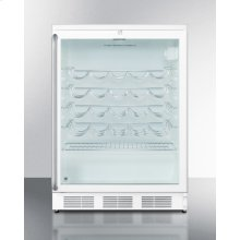 Commercially approved counter height wine cellar with glass door, white cabinet, lock and full length towel bar handle