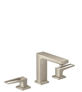 Brushed Nickel Metropol 110 Widespread Faucet with Loop Handles without Pop-Up, 1.2 GPM