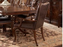 Leather Upholstered Dining Arm Chair