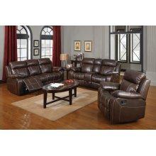 Myleene Chestnut Leather Two-piece Living Room Set