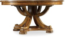 """Tynecastle Round Pedestal Dining Table with One 18"""" Leaf"""