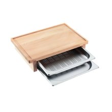DGSB 1 Carving board with 2 inserted steam cooking containers.
