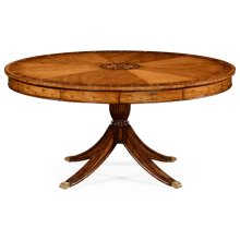 """62"""" Satinwood Pedestal Dining Table with Placemats"""