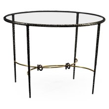 Hammered Antique Black Brass Circular Centre Table