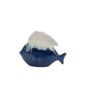 """Ceramic 8"""" White/blue Fish"""