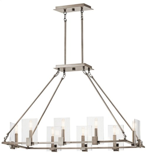 Signata 8 Light Linear Chandelier in Classic Pewter