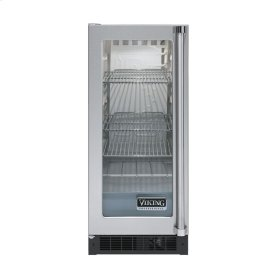 "Stainless Steel 15"" Glass Door Beverage Centers - VUAR (White Interior, Clear Glass, Left Hinge)"