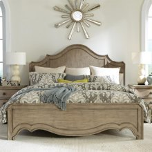 Corinne - Queen Curved Panel Footboard - Sun-drenched Acacia Finish