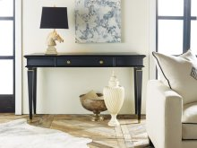 Classical Ebonized Console, White Painted Finish. Solid Brass Details.