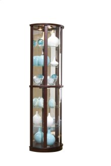 Mirrored Half Round 5 Shelf Curio Cabinet in Cherry Brown