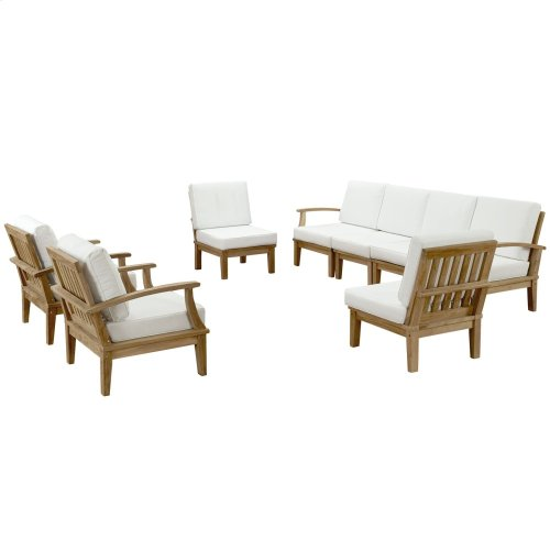 Marina 8 Piece Outdoor Patio Teak Set in Natural White