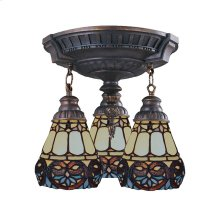 Mix-N-Match 3-Light Semi Flush in Aged Walnut with Tiffany Style Glass