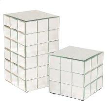 Medium Mirrored Puzzle Cube Pedestal