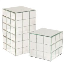 Medium Mirrored Puzzle Cube Pedestal