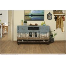 2 Drawer, 4 Door, Tv Stand, Blue finish