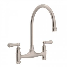 Satin Nickel Perrin & Rowe Georgian Era Bridge Kitchen Faucet with Metal Lever