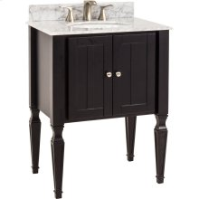 "28"" vanity with Black finish, elegant tapered legs, and clean lines with preassembled top and bowl."
