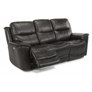 FLEXSTEELCade Leather Power Reclining Sofa with Power Headrests