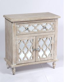 1 Drawer 2 Door Accent Cabinet-weathered Wood Finish W/mirror Accent Su