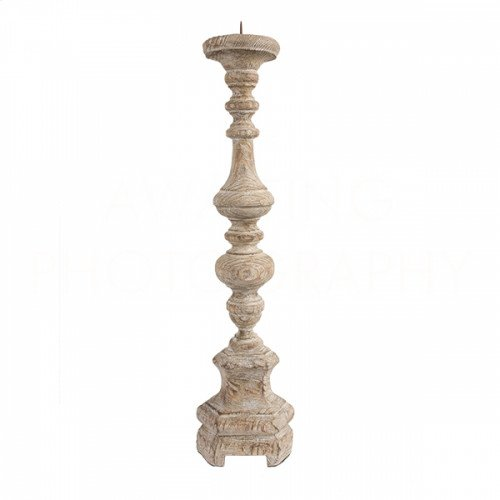 Roma Rustic Wood Candlestick