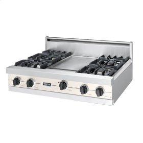 """Oyster Gray 36"""" Sealed Burner Rangetop - VGRT (36"""" wide, four burners 12"""" wide griddle/simmer plate)"""