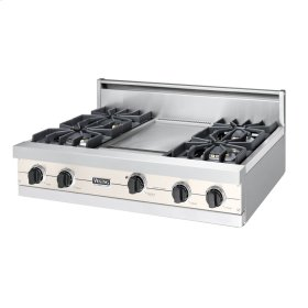 "Oyster Gray 36"" Sealed Burner Rangetop - VGRT (36"" wide, four burners 12"" wide griddle/simmer plate)"